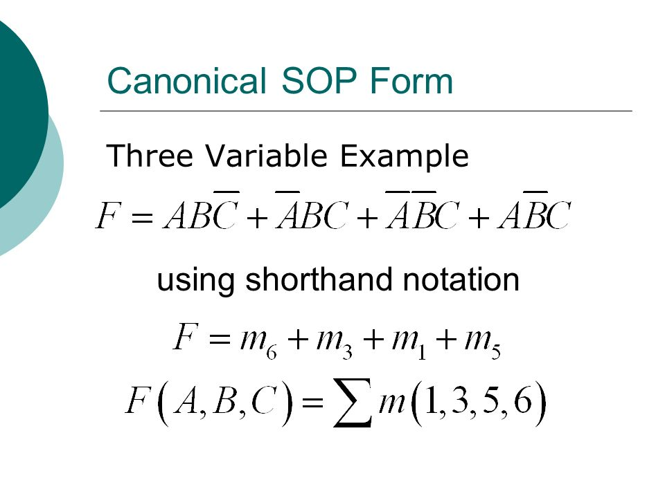 Canonical SOP Form Three Variable Example using shorthand notation