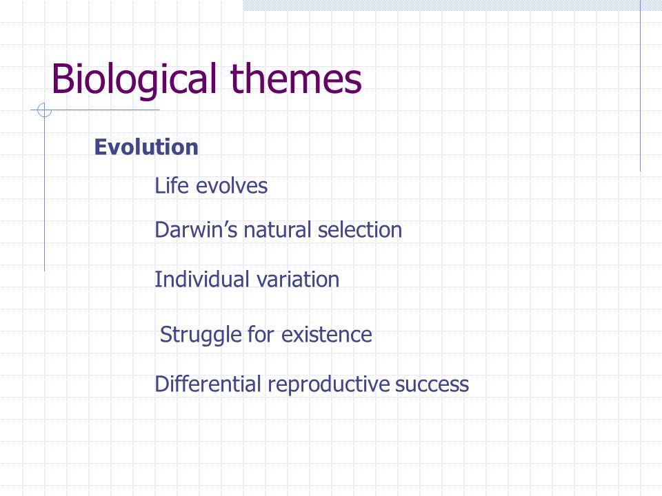 Biological themes Evolution Life evolves Darwins natural selection Individual variation Struggle for existence Differential reproductive success
