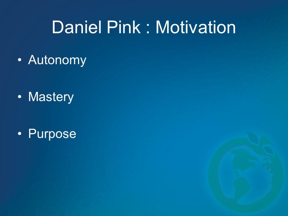 Daniel Pink : Motivation Autonomy Mastery Purpose