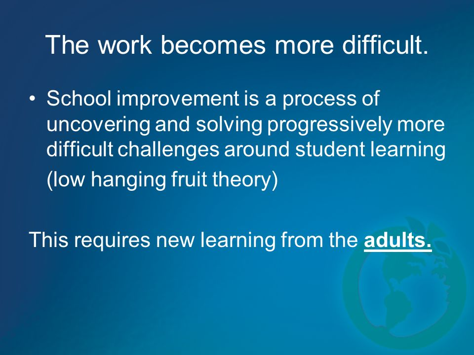 The work becomes more difficult. School improvement is a process of uncovering and solving progressively more difficult challenges around student lear