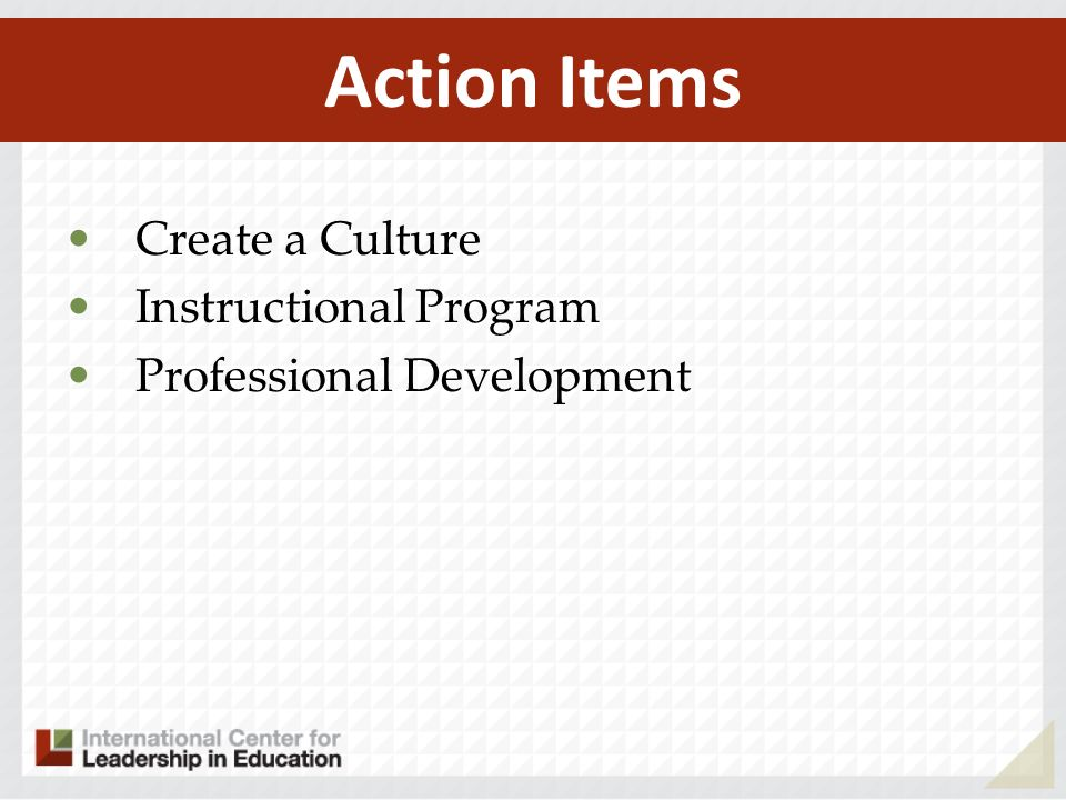 Create a Culture Instructional Program Professional Development Action Items