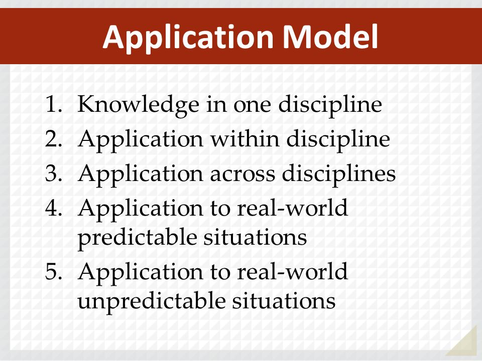 1.Knowledge in one discipline 2.Application within discipline 3.Application across disciplines 4.Application to real-world predictable situations 5.Ap