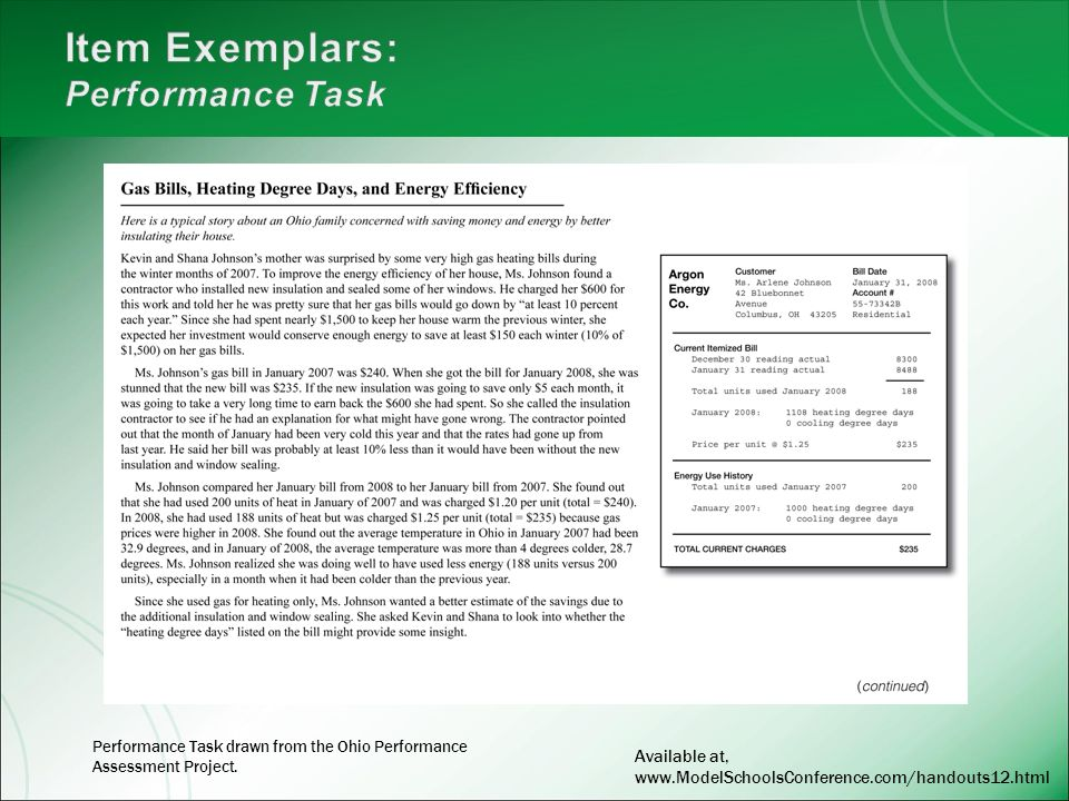 Performance Task drawn from the Ohio Performance Assessment Project. Available at, www.ModelSchoolsConference.com/handouts12.html