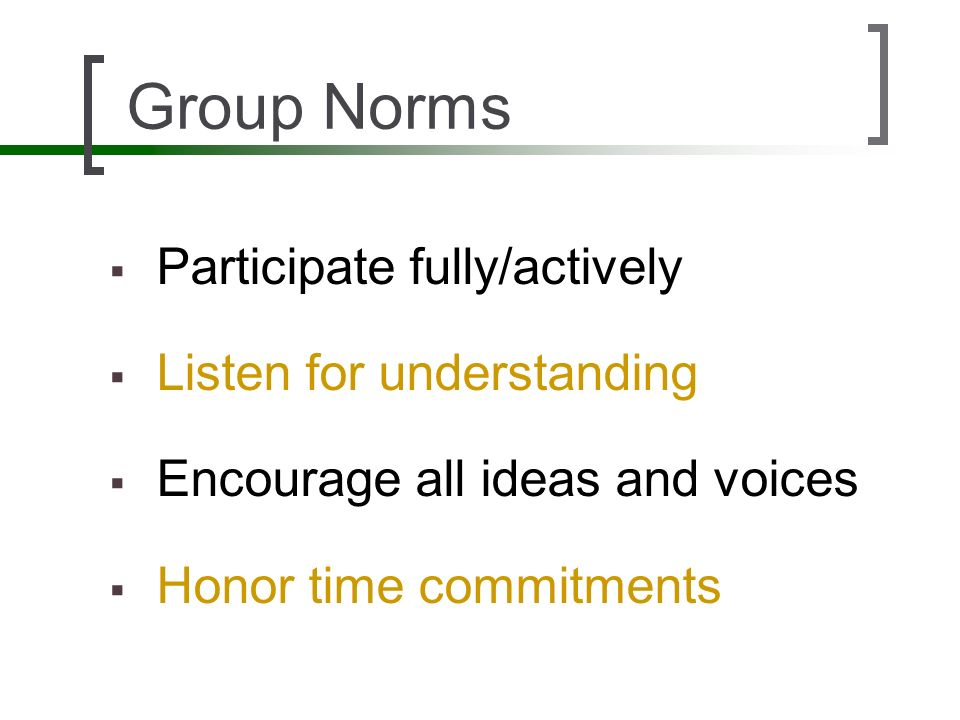 Group Norms Participate fully/actively Listen for understanding Encourage all ideas and voices Honor time commitments