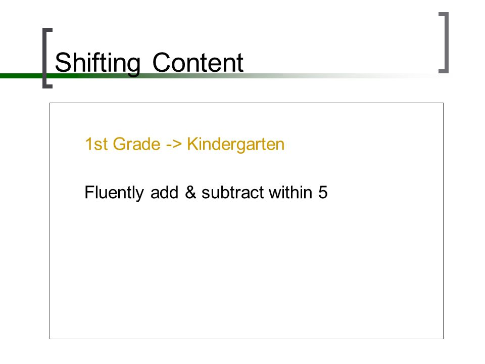 Shifting Content 1st Grade -> Kindergarten Fluently add & subtract within 5