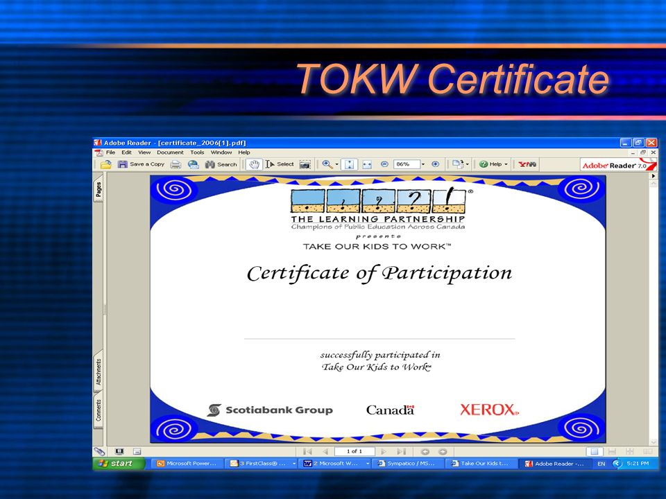 TOKW Certificate