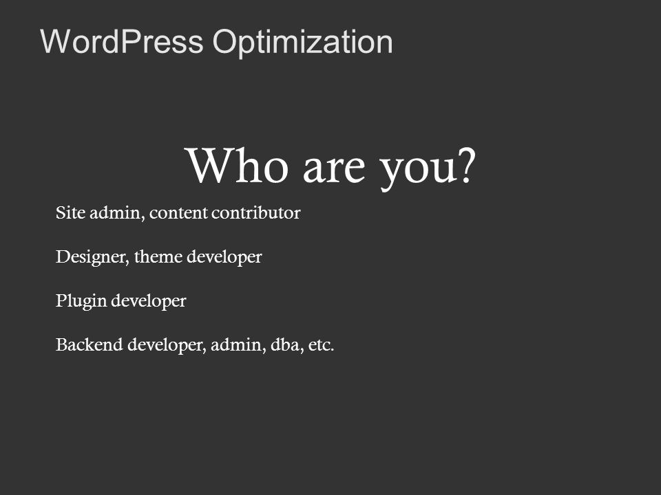 WordPress Optimization Who are you.