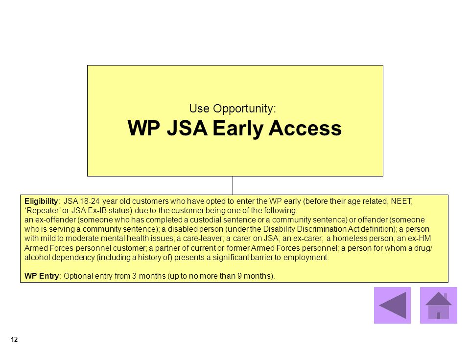 12 Use Opportunity: WP JSA Early Access Eligibility: JSA 18-24 year old customers who have opted to enter the WP early (before their age related, NEET