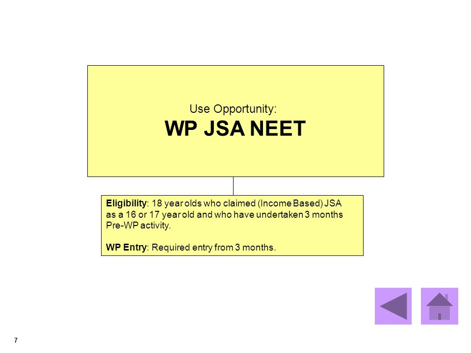 7 Use Opportunity: WP JSA NEET Eligibility: 18 year olds who claimed (Income Based) JSA as a 16 or 17 year old and who have undertaken 3 months Pre-WP