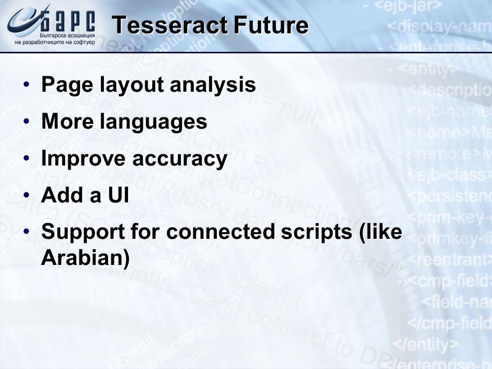 Tesseract Future Page layout analysisPage layout analysis More languagesMore languages Improve accuracyImprove accuracy Add a UIAdd a UI Support for c
