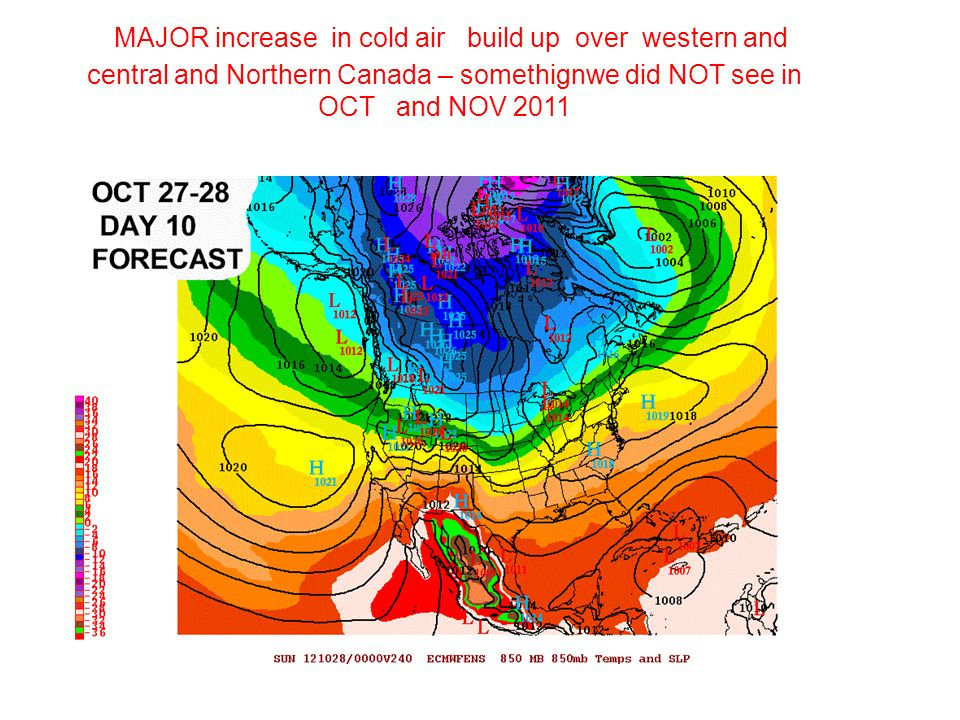 MAJOR increase in cold air build up over western and central and Northern Canada – somethignwe did NOT see in OCT and NOV 2011