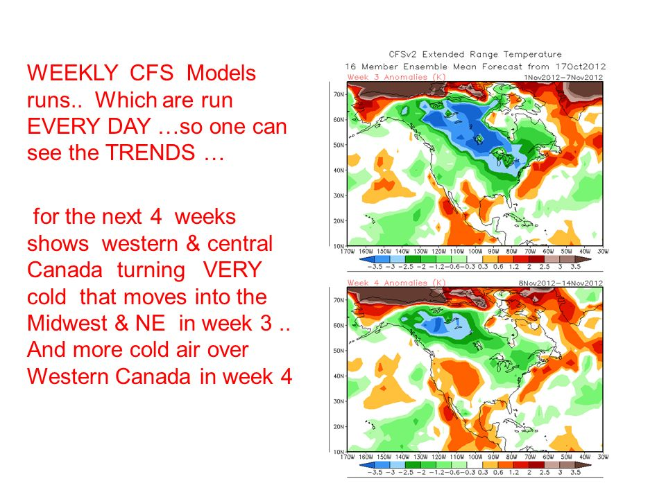 WEEKLY CFS Models runs.. Which are run EVERY DAY …so one can see the TRENDS … for the next 4 weeks shows western & central Canada turning VERY cold th