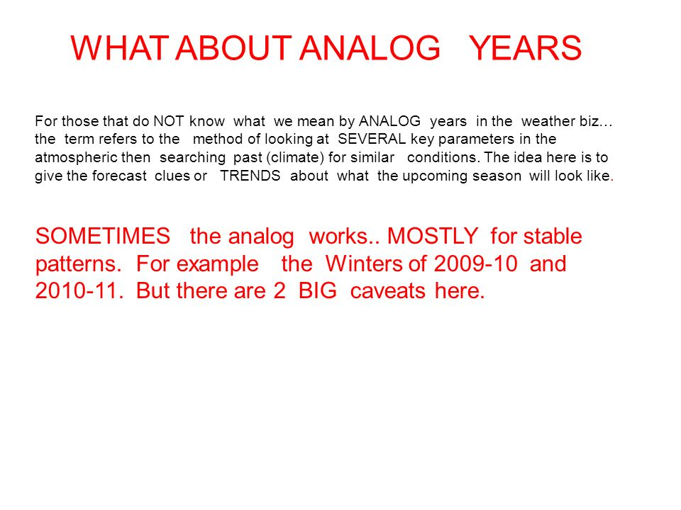 WHAT ABOUT ANALOG YEARS For those that do NOT know what we mean by ANALOG years in the weather biz… the term refers to the method of looking at SEVERA