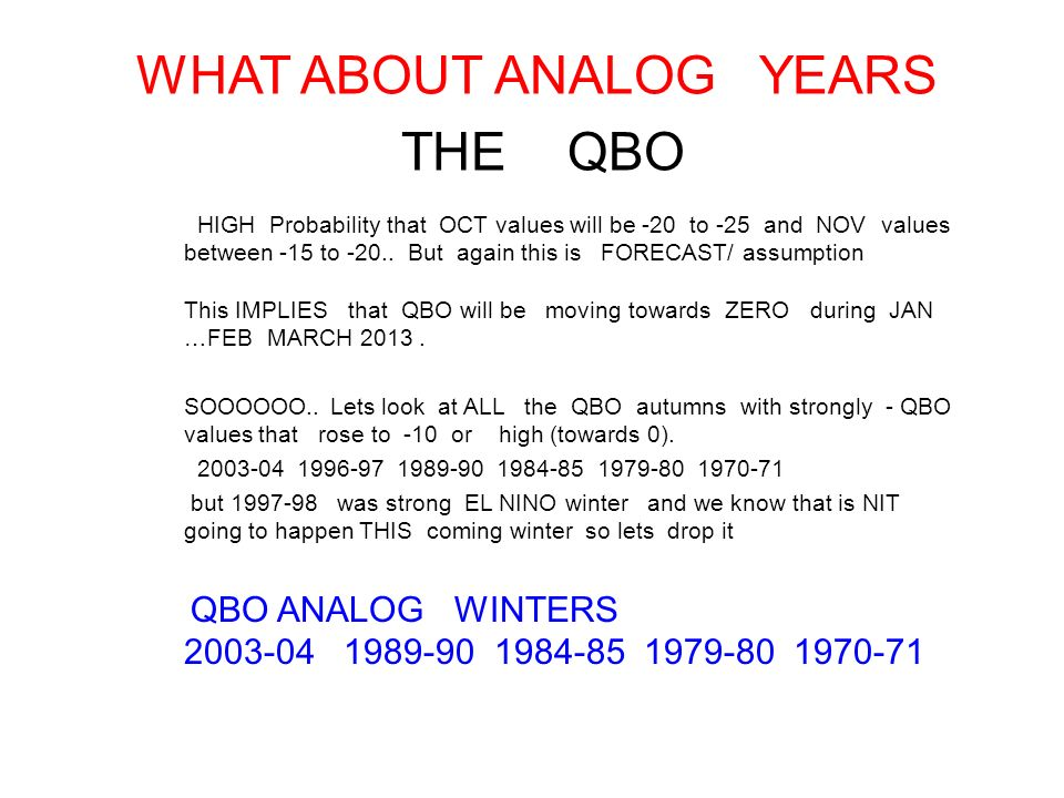 WHAT ABOUT ANALOG YEARS THE QBO HIGH Probability that OCT values will be -20 to -25 and NOV values between -15 to -20..