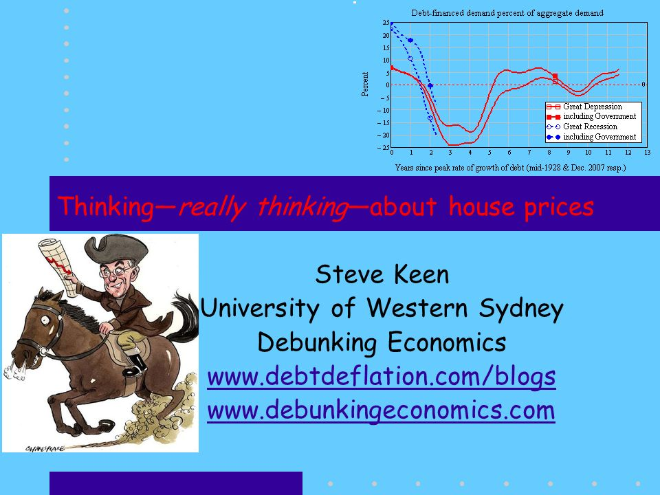 Thinkingreally thinkingabout house prices Steve Keen University of Western Sydney Debunking Economics