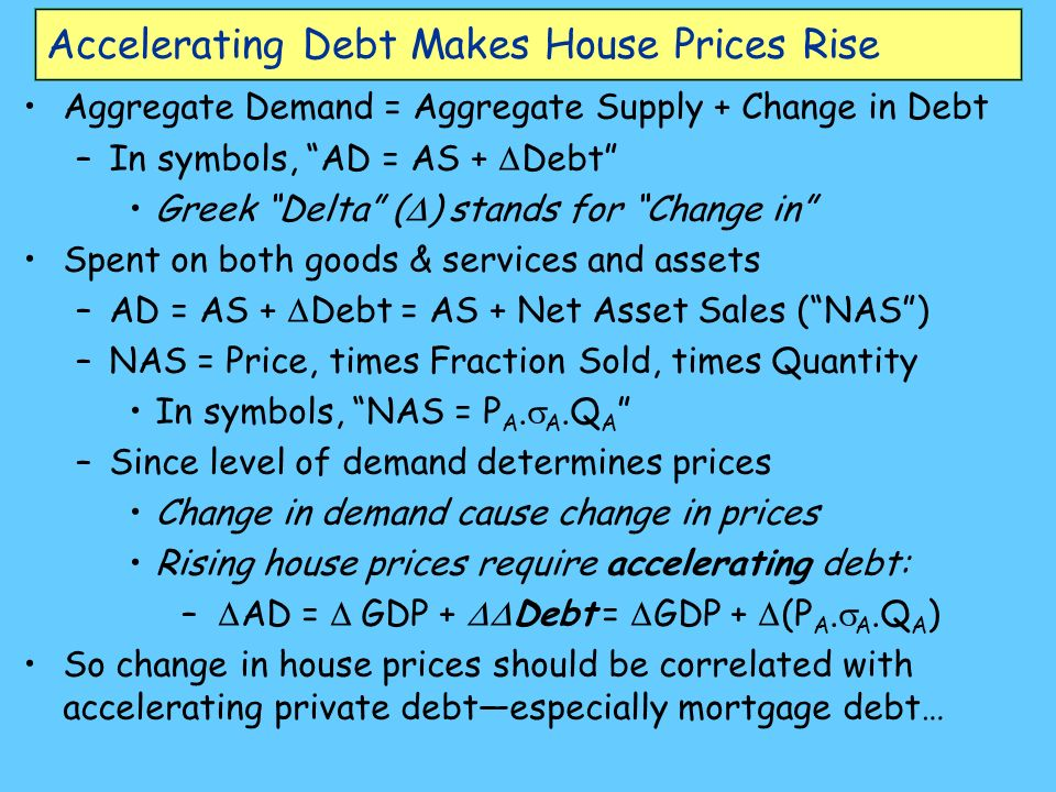 Accelerating Debt Makes House Prices Rise Aggregate Demand = Aggregate Supply + Change in Debt –In symbols, AD = AS + Debt Greek Delta ( ) stands for Change in Spent on both goods & services and assets –AD = AS + Debt = AS + Net Asset Sales (NAS) –NAS = Price, times Fraction Sold, times Quantity In symbols, NAS = P A.