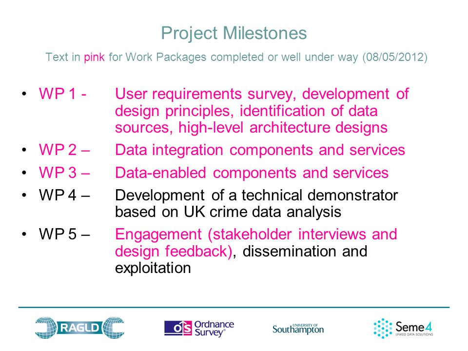 Project Milestones Text in pink for Work Packages completed or well under way (08/05/2012) WP 1 - User requirements survey, development of design principles, identification of data sources, high-level architecture designs WP 2 – Data integration components and services WP 3 – Data-enabled components and services WP 4 – Development of a technical demonstrator based on UK crime data analysis WP 5 – Engagement (stakeholder interviews and design feedback), dissemination and exploitation