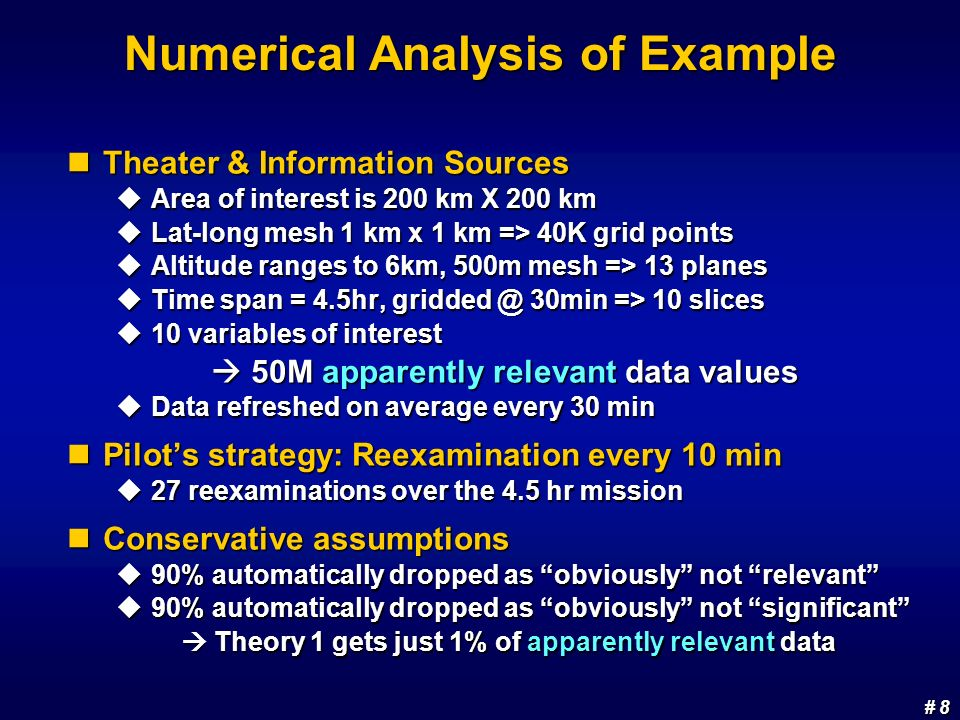 # 8 # 8 Numerical Analysis of Example Theater & Information Sources Theater & Information Sources Area of interest is 200 km X 200 km Area of interest