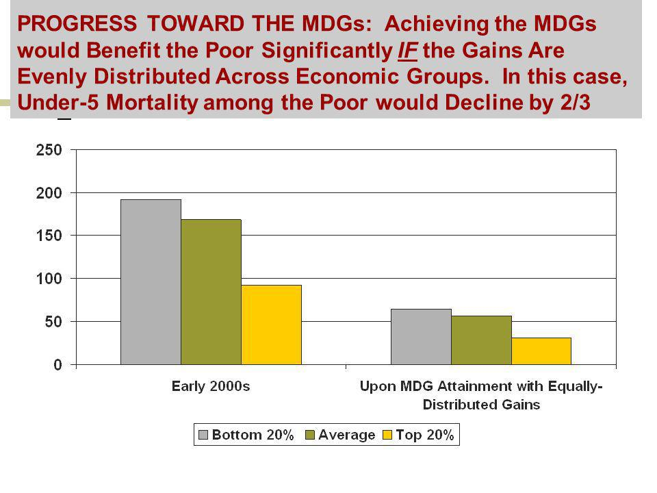 PROGRESS TOWARD THE MDGs: Achieving the MDGs would Benefit the Poor Significantly IF the Gains Are Evenly Distributed Across Economic Groups. In this
