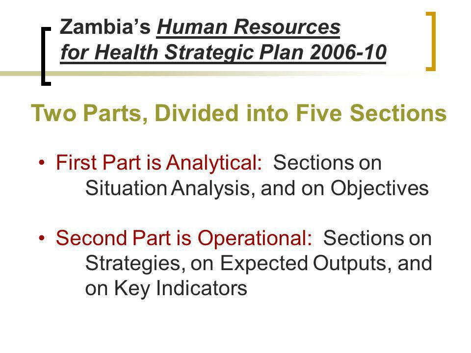 Zambias Human Resources for Health Strategic Plan 2006-10 Two Parts, Divided into Five Sections First Part is Analytical: Sections on Situation Analysis, and on Objectives Second Part is Operational: Sections on Strategies, on Expected Outputs, and on Key Indicators