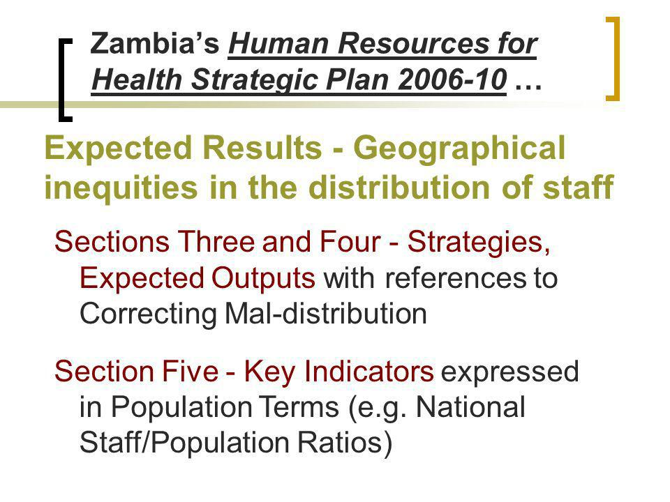 Zambias Human Resources for Health Strategic Plan 2006-10 … Expected Results - Geographical inequities in the distribution of staff Sections Three and Four - Strategies, Expected Outputs with references to Correcting Mal-distribution Section Five - Key Indicators expressed in Population Terms (e.g.