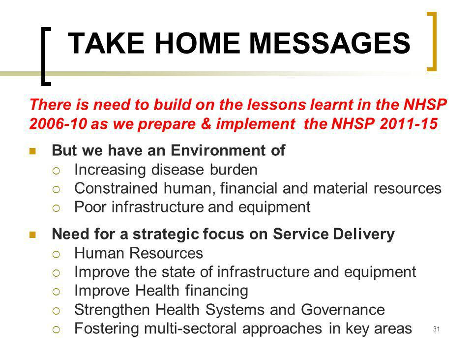 TAKE HOME MESSAGES There is need to build on the lessons learnt in the NHSP 2006-10 as we prepare & implement the NHSP 2011-15 But we have an Environm