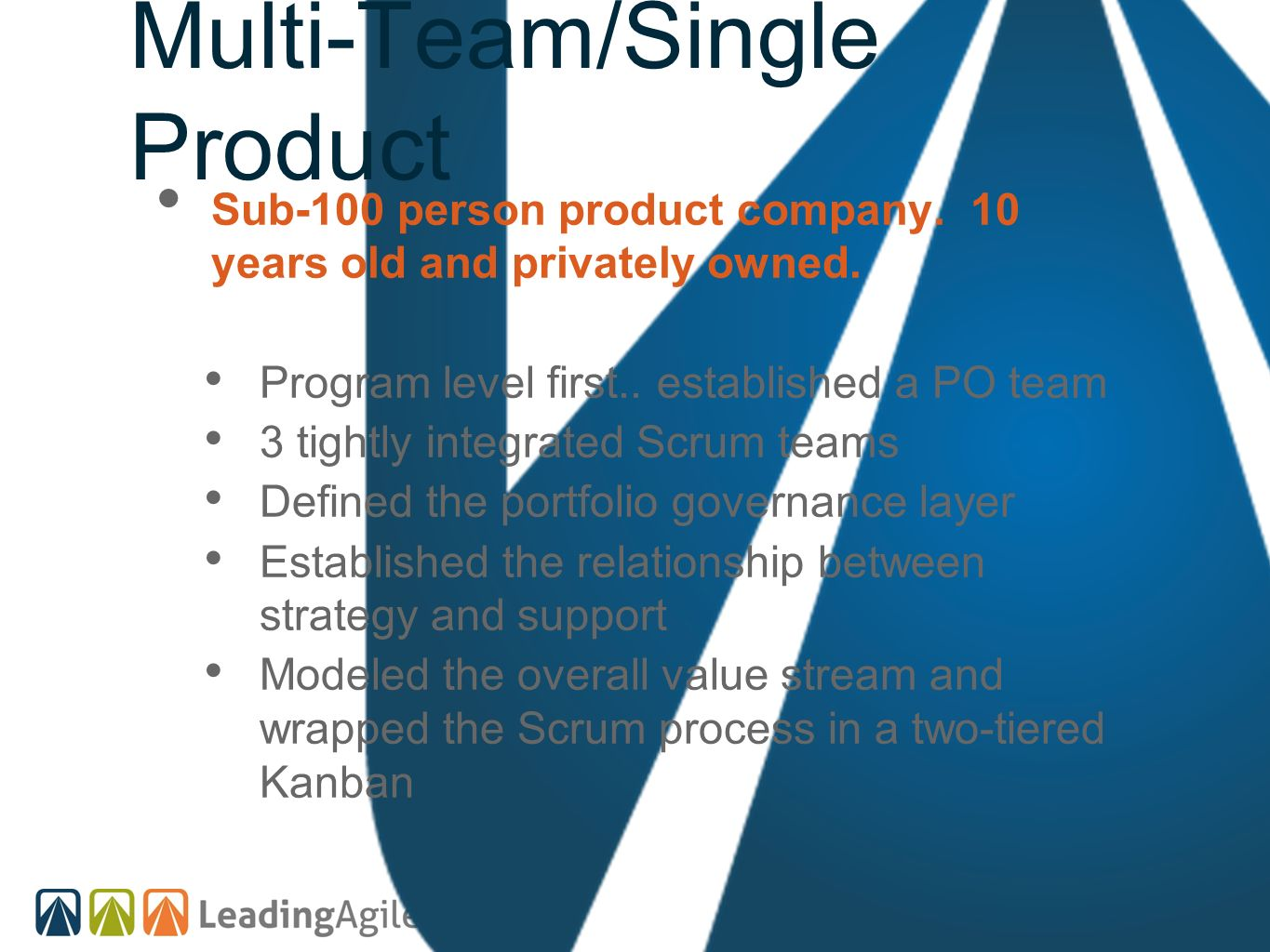 Multi-Team/Single Product Sub-100 person product company. 10 years old and privately owned. Program level first.. established a PO team 3 tightly inte