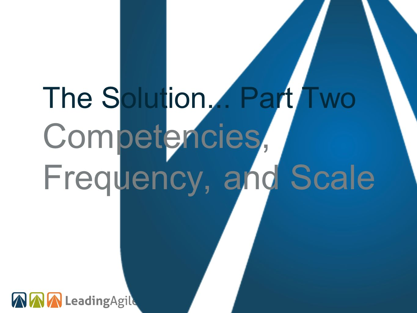 The Solution... Part Two Competencies, Frequency, and Scale