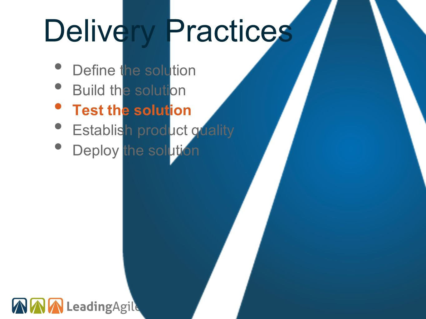 Delivery Practices Define the solution Build the solution Test the solution Establish product quality Deploy the solution