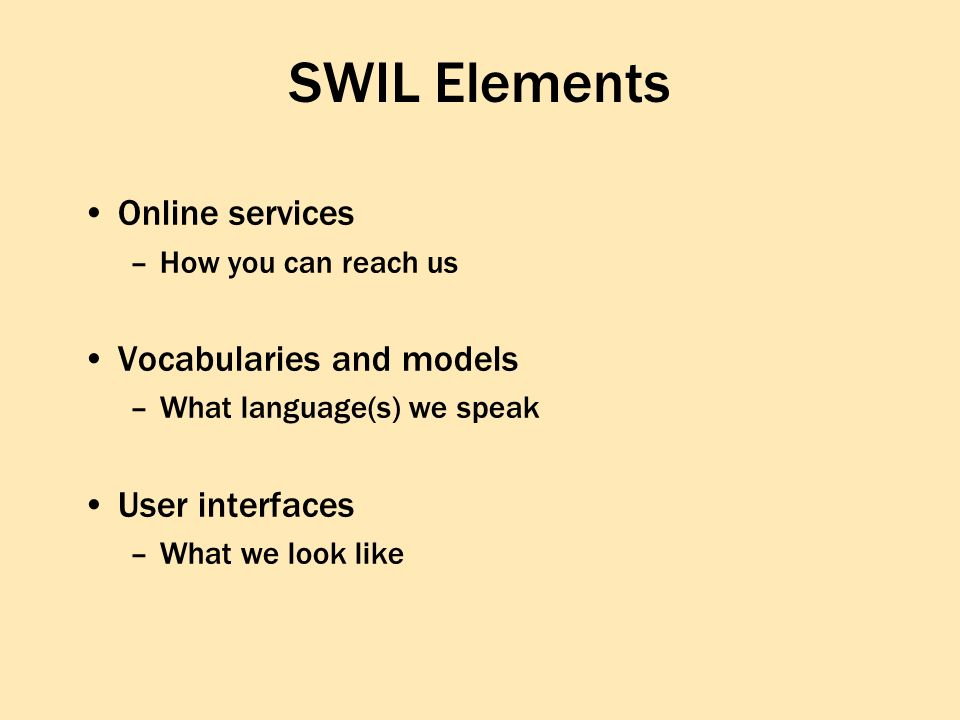 SWIL Elements Online services –How you can reach us Vocabularies and models –What language(s) we speak User interfaces –What we look like