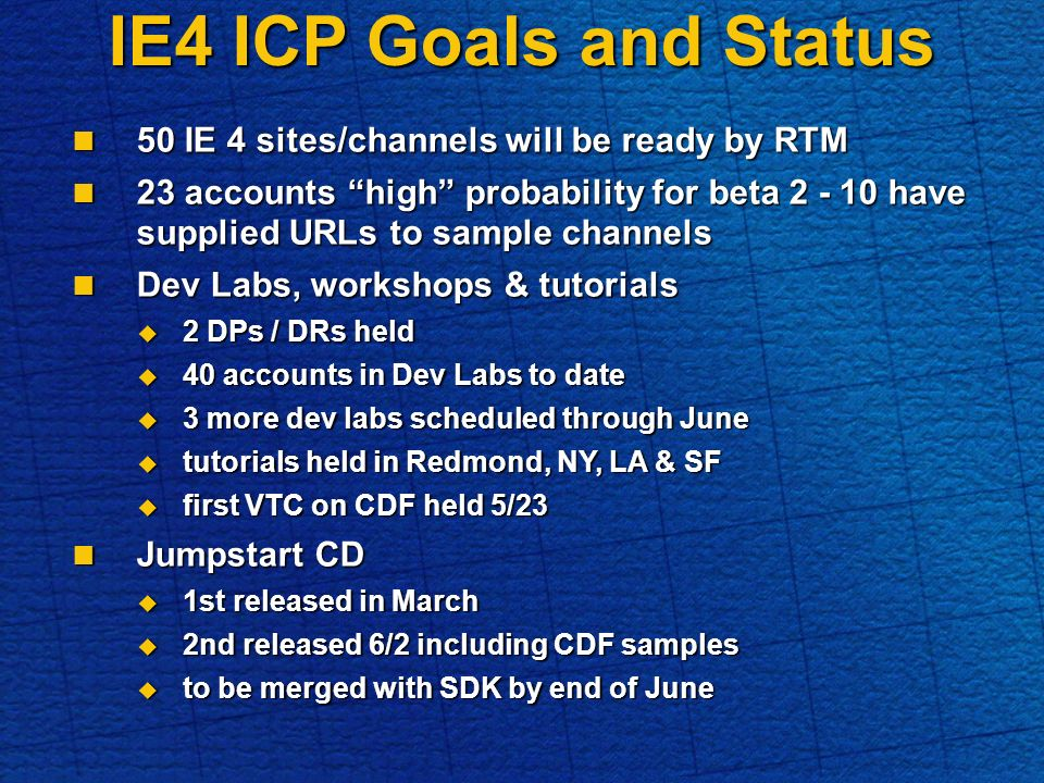 IE4 ICP Goals and Status 50 IE 4 sites/channels will be ready by RTM 50 IE 4 sites/channels will be ready by RTM 23 accounts high probability for beta 2 - 10 have supplied URLs to sample channels 23 accounts high probability for beta 2 - 10 have supplied URLs to sample channels Dev Labs, workshops & tutorials Dev Labs, workshops & tutorials 2 DPs / DRs held 2 DPs / DRs held 40 accounts in Dev Labs to date 40 accounts in Dev Labs to date 3 more dev labs scheduled through June 3 more dev labs scheduled through June tutorials held in Redmond, NY, LA & SF tutorials held in Redmond, NY, LA & SF first VTC on CDF held 5/23 first VTC on CDF held 5/23 Jumpstart CD Jumpstart CD 1st released in March 1st released in March 2nd released 6/2 including CDF samples 2nd released 6/2 including CDF samples to be merged with SDK by end of June to be merged with SDK by end of June