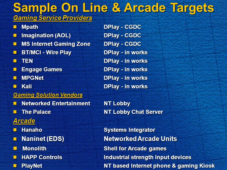 Sample On Line & Arcade Targets Gaming Service Providers MpathDPlay - CGDC MpathDPlay - CGDC Imagination (AOL)DPlay - CGDC Imagination (AOL)DPlay - CGDC MS Internet Gaming ZoneDPlay - CGDC MS Internet Gaming ZoneDPlay - CGDC BT/MCI - Wire PlayDPlay - in works BT/MCI - Wire PlayDPlay - in works TENDPlay - in works TENDPlay - in works Engage GamesDPlay - in works Engage GamesDPlay - in works MPGNetDPlay - in works MPGNetDPlay - in works KaliDPlay - in works KaliDPlay - in works Gaming Solution Vendors Networked EntertainmentNT Lobby Networked EntertainmentNT Lobby The PalaceNT Lobby Chat Server The PalaceNT Lobby Chat ServerArcade HanahoSystems Integrator HanahoSystems Integrator Naninet (EDS)Networked Arcade Units Naninet (EDS)Networked Arcade Units MonolithShell for Arcade games MonolithShell for Arcade games HAPP ControlsIndustrial strength Input devices HAPP ControlsIndustrial strength Input devices PlayNetNT based Internet phone & gaming Kiosk PlayNetNT based Internet phone & gaming Kiosk