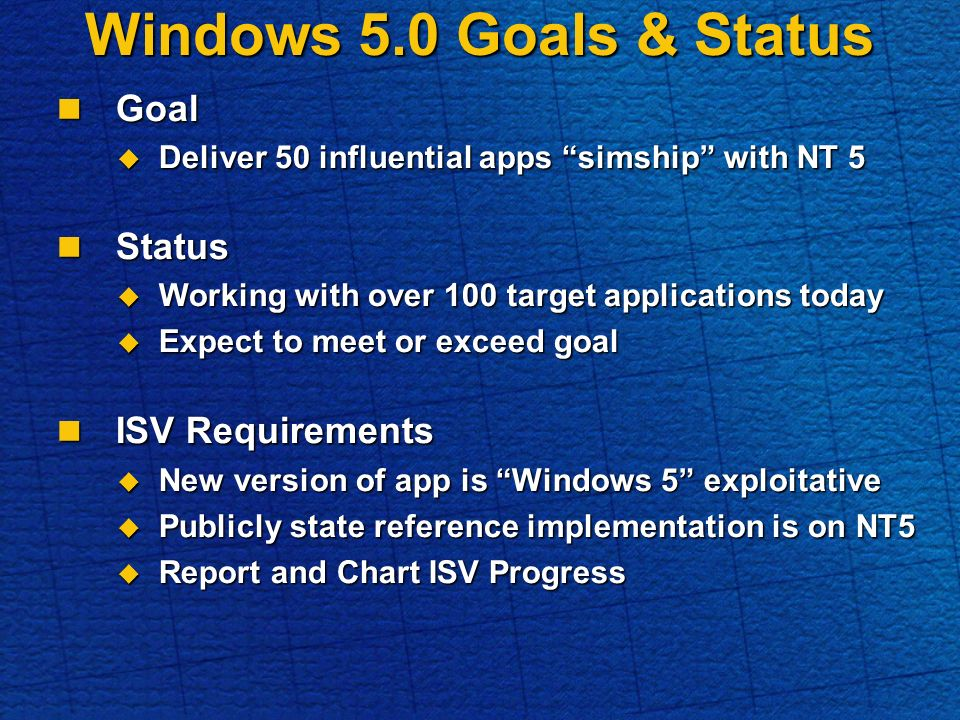 Windows 5.0 Goals & Status Goal Goal Deliver 50 influential apps simship with NT 5 Deliver 50 influential apps simship with NT 5 Status Status Working with over 100 target applications today Working with over 100 target applications today Expect to meet or exceed goal Expect to meet or exceed goal ISV Requirements ISV Requirements New version of app is Windows 5 exploitative New version of app is Windows 5 exploitative Publicly state reference implementation is on NT5 Publicly state reference implementation is on NT5 Report and Chart ISV Progress Report and Chart ISV Progress