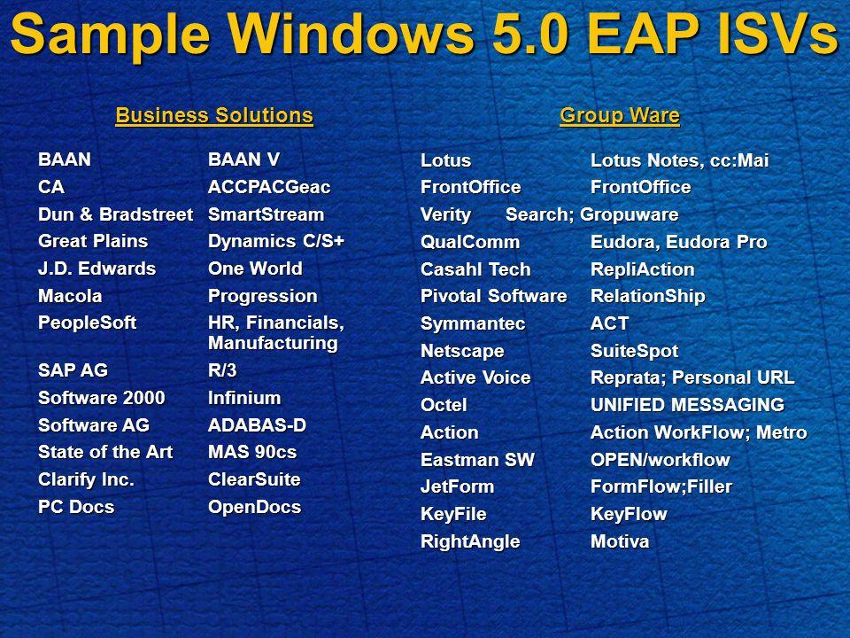 Sample Windows 5.0 EAP ISVs Business Solutions BAANBAAN V CAACCPACGeac Dun & BradstreetSmartStream Great Plains Dynamics C/S+ J.D.