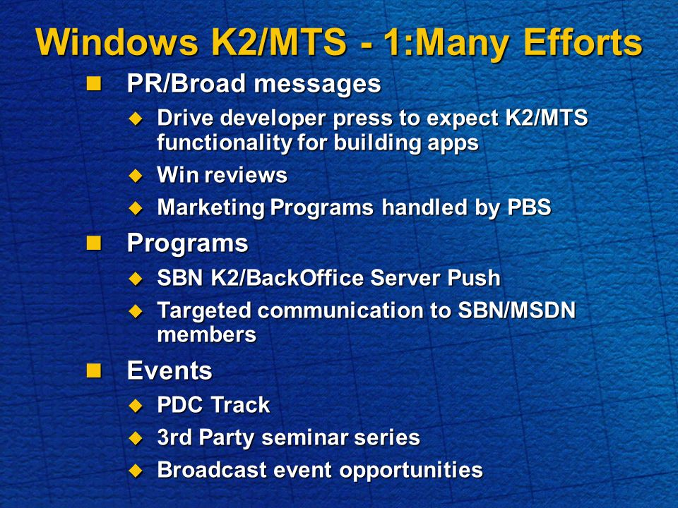 Windows K2/MTS - 1:Many Efforts PR/Broad messages PR/Broad messages Drive developer press to expect K2/MTS functionality for building apps Drive developer press to expect K2/MTS functionality for building apps Win reviews Win reviews Marketing Programs handled by PBS Marketing Programs handled by PBS Programs Programs SBN K2/BackOffice Server Push SBN K2/BackOffice Server Push Targeted communication to SBN/MSDN members Targeted communication to SBN/MSDN members Events Events PDC Track PDC Track 3rd Party seminar series 3rd Party seminar series Broadcast event opportunities Broadcast event opportunities