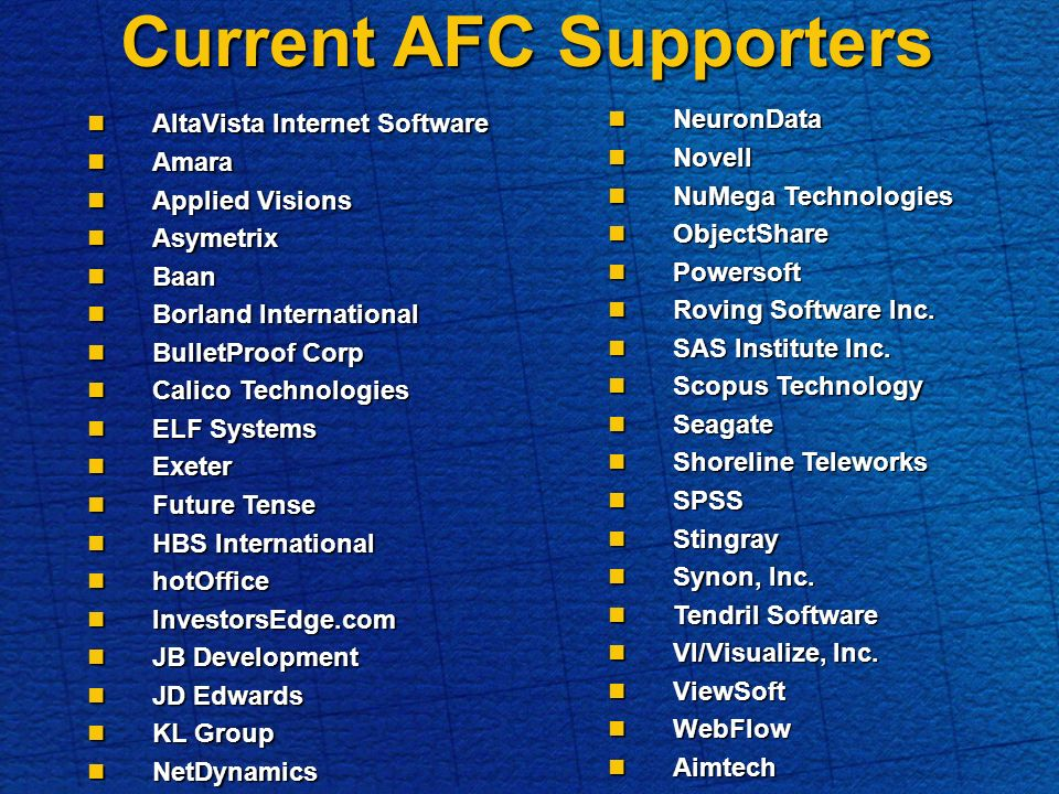 Current AFC Supporters AltaVista Internet Software AltaVista Internet Software Amara Amara Applied Visions Applied Visions Asymetrix Asymetrix Baan Baan Borland International Borland International BulletProof Corp BulletProof Corp Calico Technologies Calico Technologies ELF Systems ELF Systems Exeter Exeter Future Tense Future Tense HBS International HBS International hotOffice hotOffice InvestorsEdge.com InvestorsEdge.com JB Development JB Development JD Edwards JD Edwards KL Group KL Group NetDynamics NetDynamics NeuronData NeuronData Novell Novell NuMega Technologies NuMega Technologies ObjectShare ObjectShare Powersoft Powersoft Roving Software Inc.