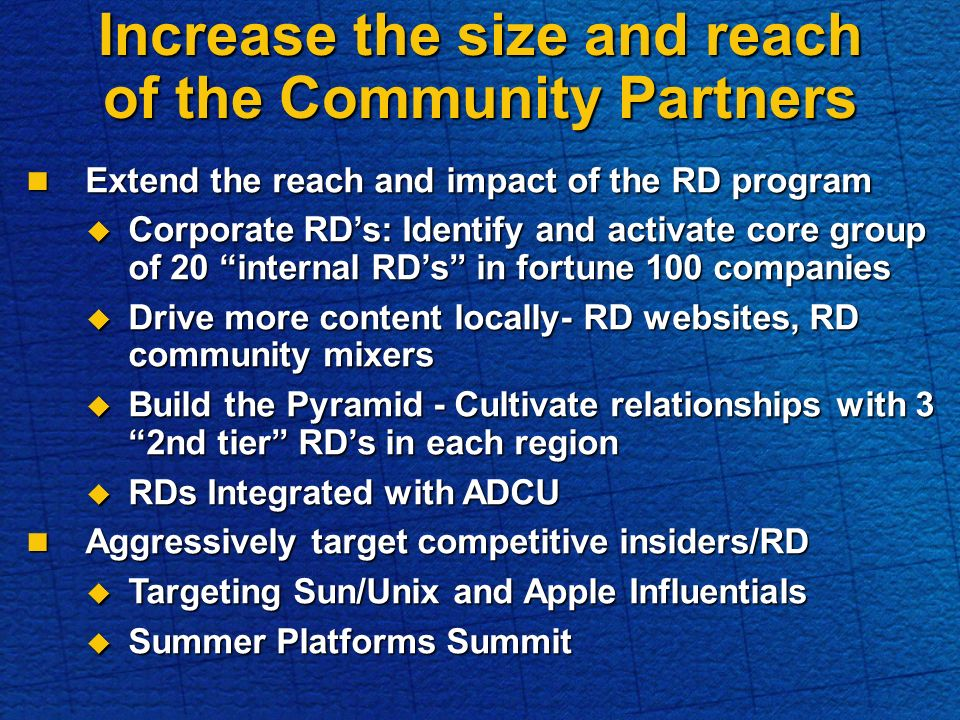 Increase the size and reach of the Community Partners Extend the reach and impact of the RD program Extend the reach and impact of the RD program Corporate RDs: Identify and activate core group of 20 internal RDs in fortune 100 companies Corporate RDs: Identify and activate core group of 20 internal RDs in fortune 100 companies Drive more content locally- RD websites, RD community mixers Drive more content locally- RD websites, RD community mixers Build the Pyramid - Cultivate relationships with 3 2nd tier RDs in each region Build the Pyramid - Cultivate relationships with 3 2nd tier RDs in each region RDs Integrated with ADCU RDs Integrated with ADCU Aggressively target competitive insiders/RD Aggressively target competitive insiders/RD Targeting Sun/Unix and Apple Influentials Targeting Sun/Unix and Apple Influentials Summer Platforms Summit Summer Platforms Summit
