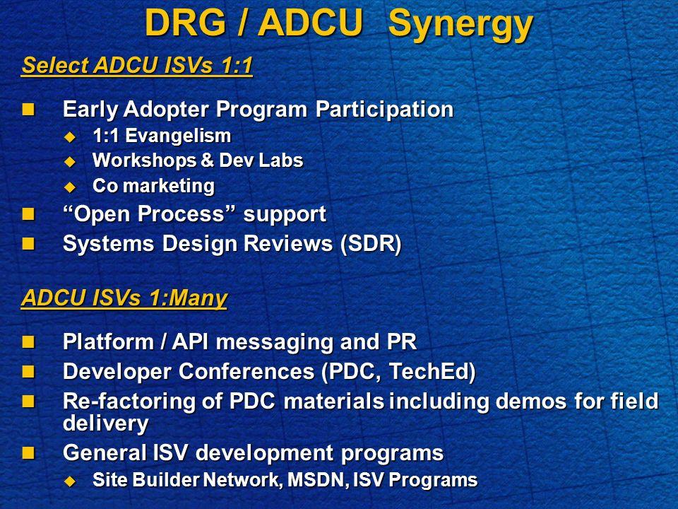 DRG / ADCU Synergy Select ADCU ISVs 1:1 Early Adopter Program Participation Early Adopter Program Participation 1:1 Evangelism 1:1 Evangelism Workshops & Dev Labs Workshops & Dev Labs Co marketing Co marketing Open Process support Open Process support Systems Design Reviews (SDR) Systems Design Reviews (SDR) ADCU ISVs 1:Many Platform / API messaging and PR Platform / API messaging and PR Developer Conferences (PDC, TechEd) Developer Conferences (PDC, TechEd) Re-factoring of PDC materials including demos for field delivery Re-factoring of PDC materials including demos for field delivery General ISV development programs General ISV development programs Site Builder Network, MSDN, ISV Programs Site Builder Network, MSDN, ISV Programs