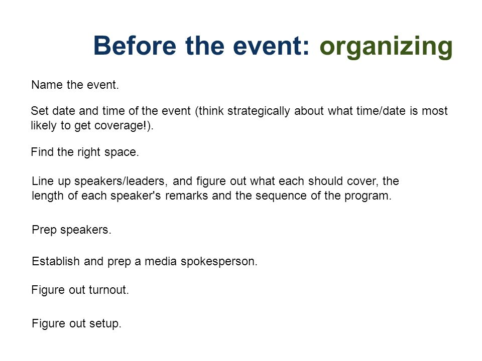 Before the event: organizing Name the event. Set date and time of the event (think strategically about what time/date is most likely to get coverage!)