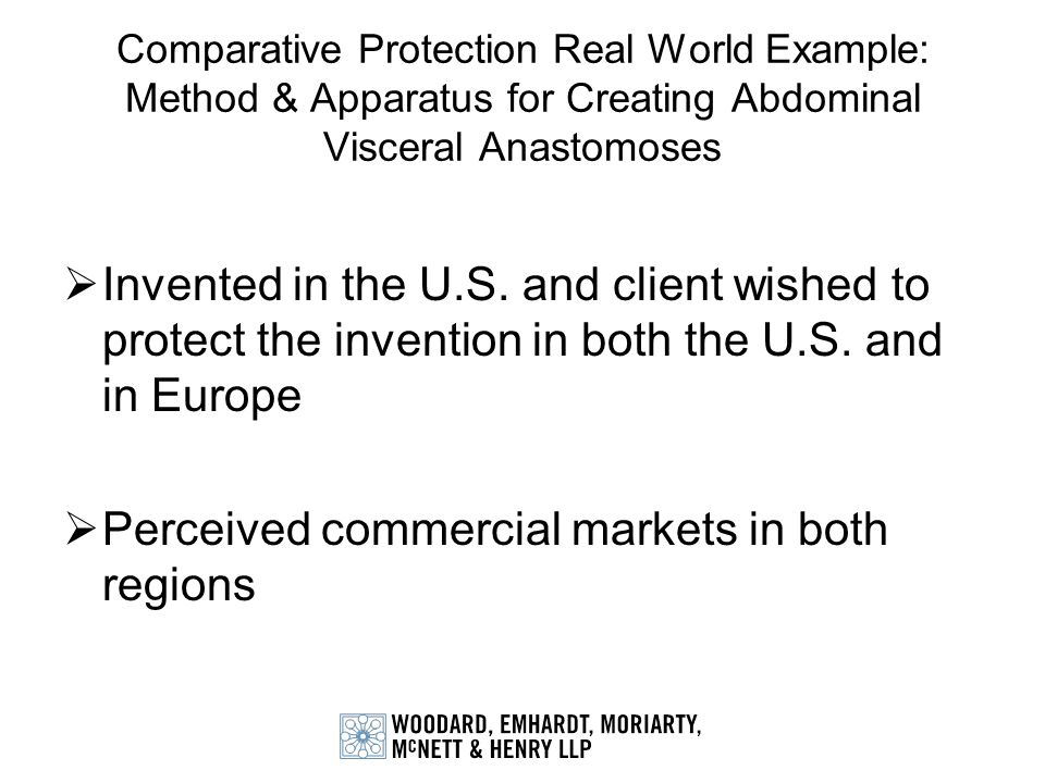 Invented in the U.S. and client wished to protect the invention in both the U.S. and in Europe Perceived commercial markets in both regions