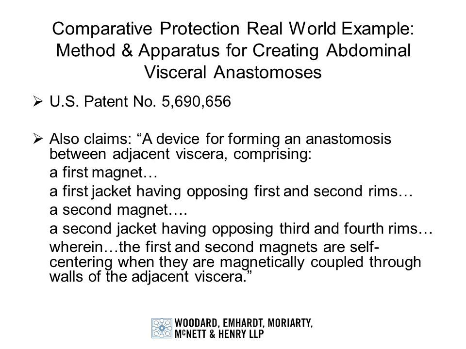 Comparative Protection Real World Example: Method & Apparatus for Creating Abdominal Visceral Anastomoses U.S. Patent No. 5,690,656 Also claims: A dev