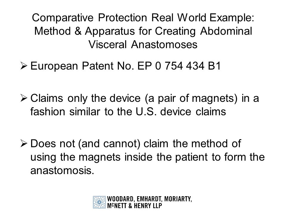 Comparative Protection Real World Example: Method & Apparatus for Creating Abdominal Visceral Anastomoses European Patent No. EP 0 754 434 B1 Claims o