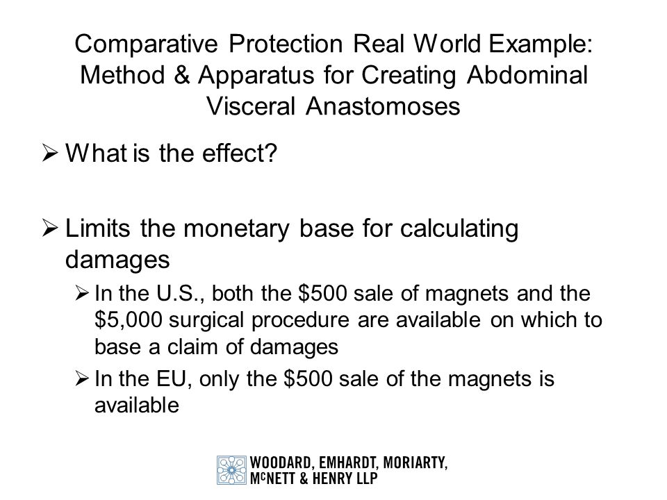 Comparative Protection Real World Example: Method & Apparatus for Creating Abdominal Visceral Anastomoses What is the effect? Limits the monetary base