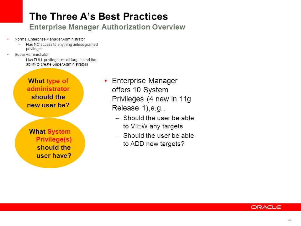 44 The Three As Best Practices Enterprise Manager Authorization Overview What type of administrator should the new user be? What System Privilege(s) s