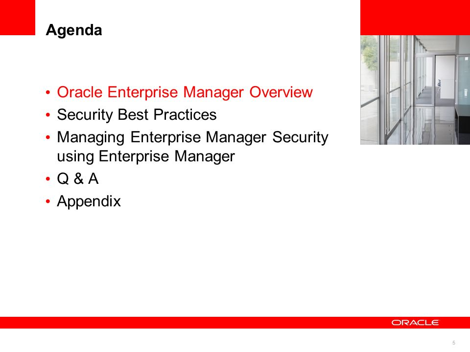 76 Infrastructure Security Best Practices Configure Enterprise Manager for Firewalls Configure OMS to use proxy server for its its connections to My Oracle Support to check CPUs Update the following OMS properties via emctl set property command: – emctl set property –name - value PROXYHOST=proxyhostname.domain PROXYPORT =port If there are some agents on the hosts that are inside the firewall, set dontProxyfor property for these hosts dontPROXYFor = hostname1,hostname2 Oracle Management Service(OMS) Firewall My Oracle Support
