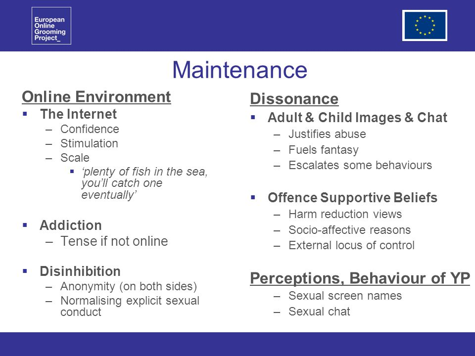 Maintenance Online Environment The Internet –Confidence –Stimulation –Scale plenty of fish in the sea, youll catch one eventually Addiction –Tense if not online Disinhibition –Anonymity (on both sides) –Normalising explicit sexual conduct Dissonance Adult & Child Images & Chat –Justifies abuse –Fuels fantasy –Escalates some behaviours Offence Supportive Beliefs –Harm reduction views –Socio-affective reasons –External locus of control Perceptions, Behaviour of YP –Sexual screen names –Sexual chat