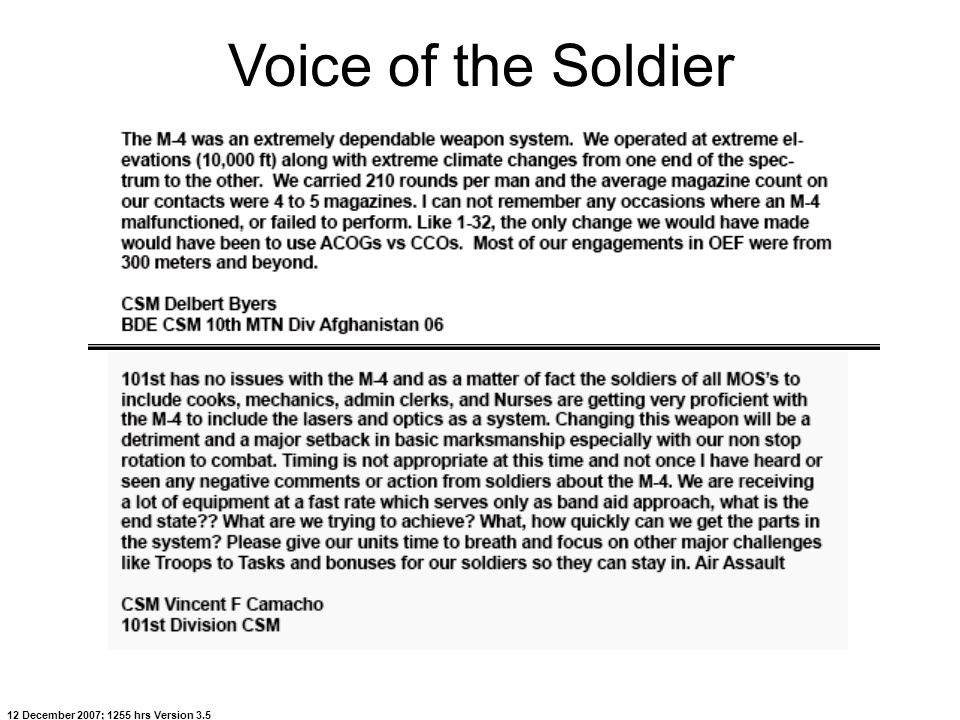 12 December 2007; 1255 hrs Version 3.5 Voice of the Soldier