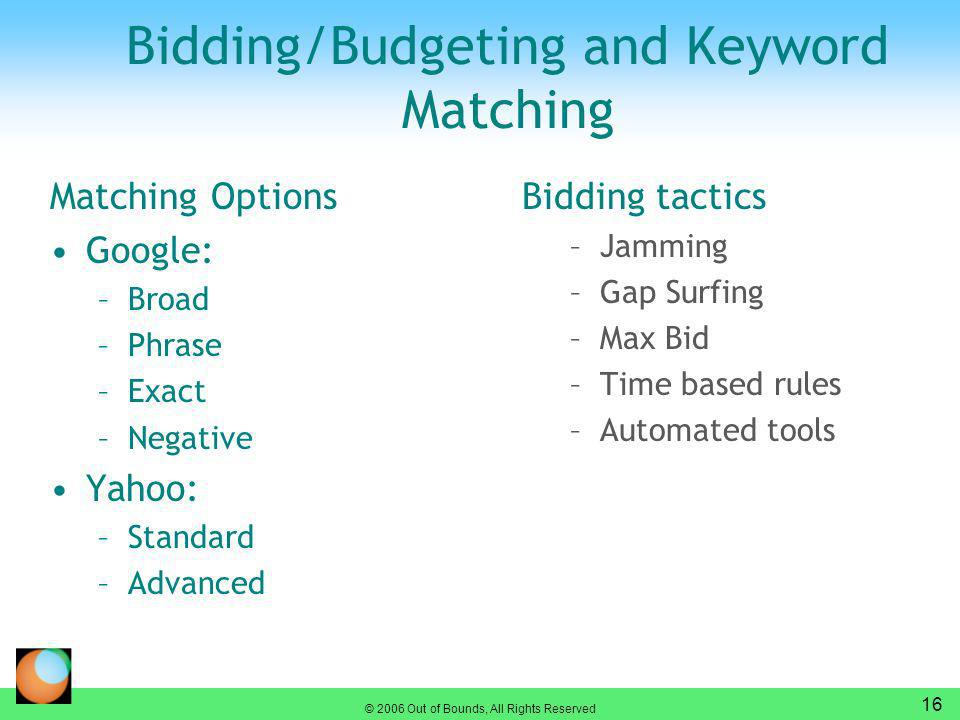 © 2006 Out of Bounds, All Rights Reserved 16 Bidding/Budgeting and Keyword Matching Bidding tactics –Jamming –Gap Surfing –Max Bid –Time based rules –Automated tools Matching Options Google: –Broad –Phrase –Exact –Negative Yahoo: –Standard –Advanced
