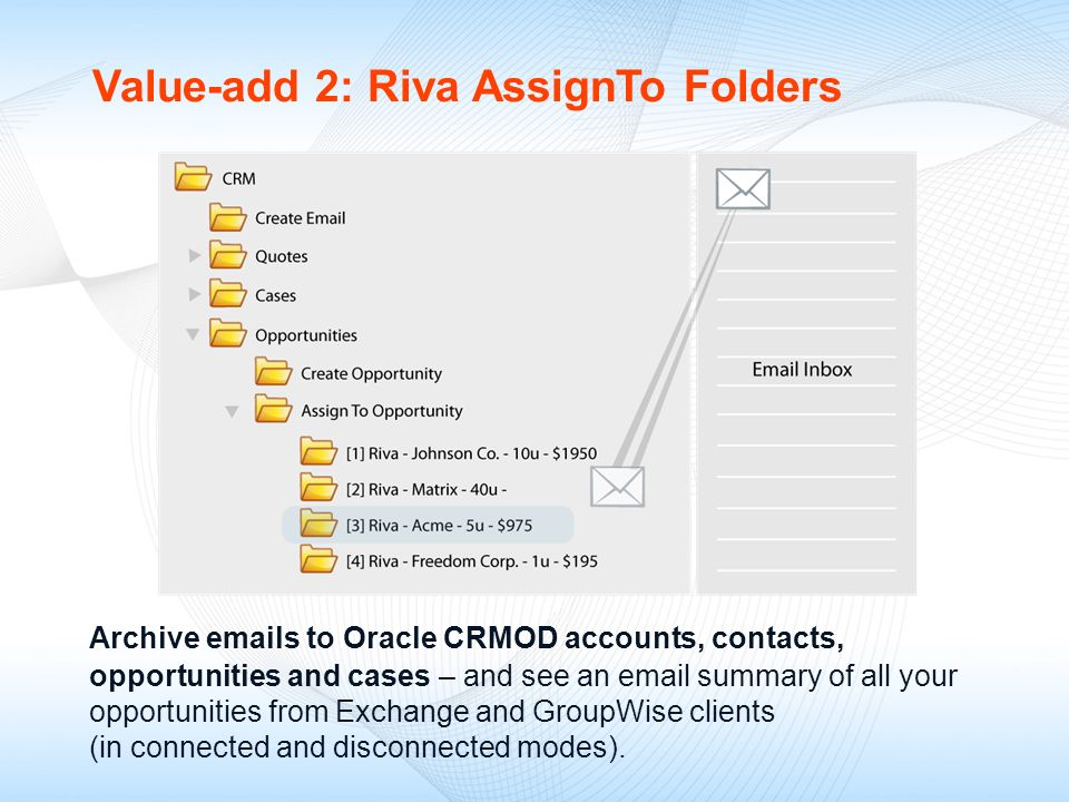 Value-add 2: Riva AssignTo Folders Archive emails to Oracle CRMOD accounts, contacts, opportunities and cases – and see an email summary of all your o