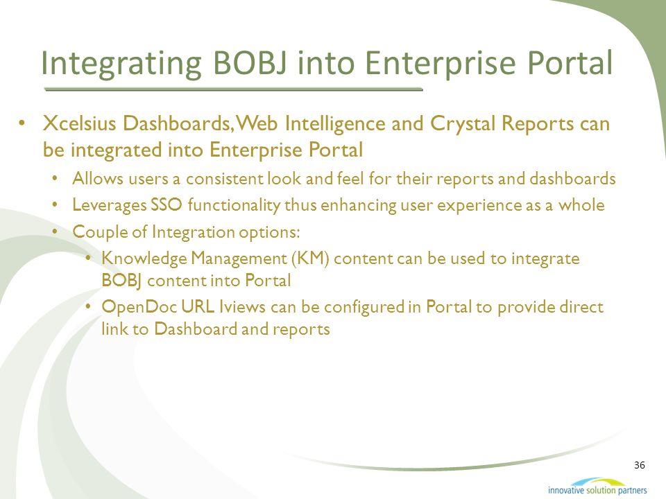 36 Integrating BOBJ into Enterprise Portal Xcelsius Dashboards, Web Intelligence and Crystal Reports can be integrated into Enterprise Portal Allows u